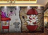 FVeng LIN Carpet Papier Peint Outillage de Magasin de Barbecue de Mur de Brique nostalgique 3D Affiche Photo Gym Yoga Salle Murale Magasin De Vêtements Décoration Sticker Mural-350cmx256cm