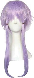 かつら - ショートストレート高温のシルクかつらのファッションの人格無料のスタイルの柔らかいハロウィーンのボールの役割35cmライト紫を演奏 (色 : Purple, サイズ さいず : 50cm)