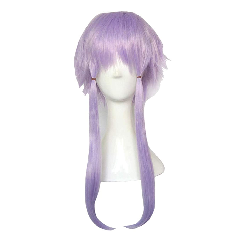 貫入セイはさておき間欠かつら - ショートストレート高温のシルクかつらのファッションの人格無料のスタイルの柔らかいハロウィーンのボールの役割35cmライト紫を演奏 (色 : Purple, サイズ さいず : 50cm)