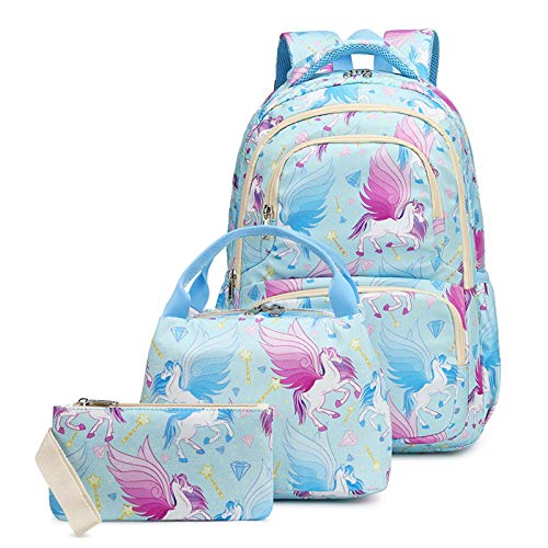 Primary School Backpack for Girls Boys Rucksack with Lunch Bag Pencil Case Book Bags Kids Satchel College Casual Lightweight Laptop Travel Daypack, Geen 16.5'