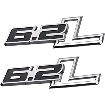 2Pcs Metal 6.2L Car Trunk Tailgate Emblem Fender Badge Decal Sticker Replacement for F-150 Chrome//Black