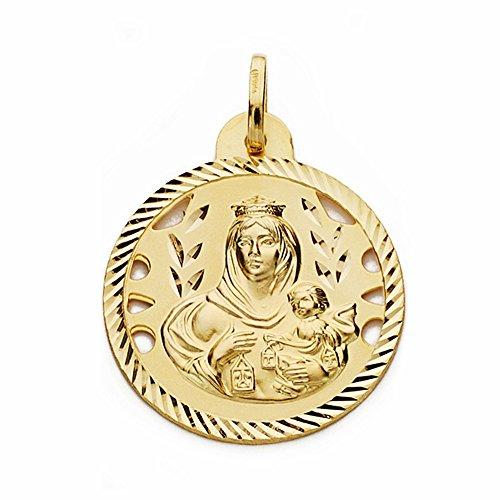 Medalla Oro 18K Virgen Del Carmen 24mm Calada Cerco Tallado [Aa2472Gr] - Personalizable - Grabación Incluida En El Precio