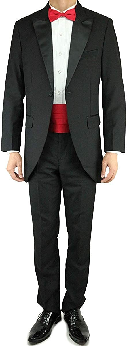 Wonder Stage Men's Slim Fit 4 Pc Black Tuxedo Suit Jacket Pants Cummerbund Neck Tie