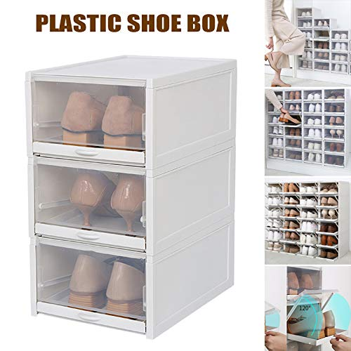 Leobtain Shoe Box 3PCS Shoe Storage Foldable and Stackable Shoe Boxes Clear Women Men Hight Quality Shoe Box Design Sturdy and Durable Drawer Shoe Boxes Style Easy to Storage Shoes