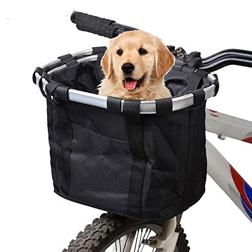 Hamiledyi Dogs Carrier Bike Basket - Perfect Removable Dog Bycicle Basket for Bike - Pet Cat Dog Carrier Easy Install Quick Released, Black