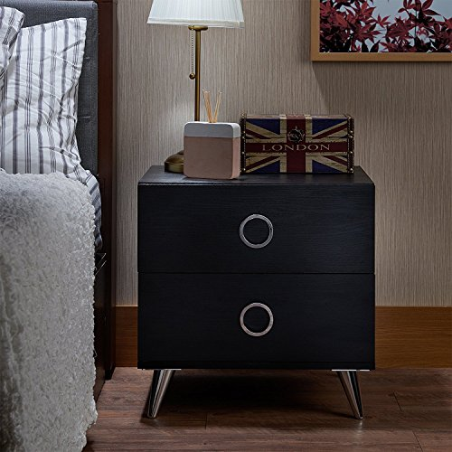 Major-Q 2 Drawer Dresser for Living Room / Bedroom / Entryway / Hallway, Black Finish with Chrome 20 x 17 x 20