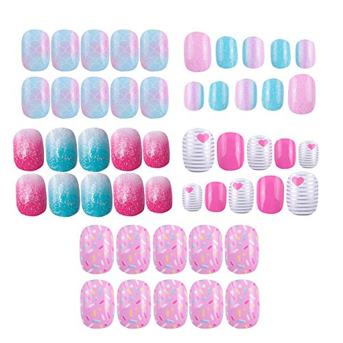 120 Stück 5 Pack Kinder Nägel zum Aufpressen vorklebend Glitzer Farbverlauf Farbverlauf, kurz, tolles Weihnachtsgeschenk für Kinder, kleine Mädchen, mehrfarbiger Farbverlauf