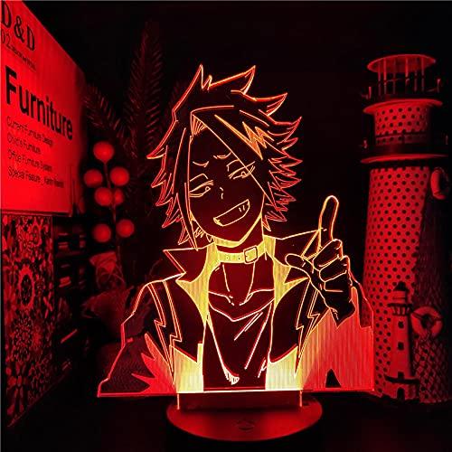 Luz de noche 3D para niños, My Hero Academia Denki KAMINARI Illusion Anime Lámpara Boku No Hero Academia Nightlights 7 Color Cambiante Ledfor Dormitorio Navidad Regalo-Control remoto