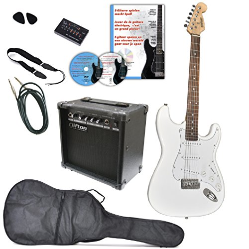 Clifton A050788 - Juego de guitarra eléctrica con DVD de aprendizaje, karaoke, CD, canciones de CD, amplificador, sintonizador, púas, correa, cable, color blanco