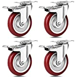 SPACECARE 5 Inches Caster Wheels, Heavy Duty Locking Casters with Brake Set of 4, 1460Lbs with 360 Degree No Noise Swivel Plate Castors