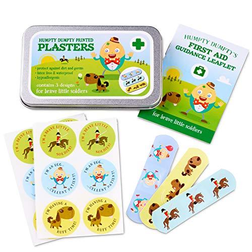 Yellodoor 24 divertidos tiritas para niños con 18 pegatinas de recompensa en una lata de viaje sin látex con diseño humpty Dumpty incluye kit de primeros auxilios mini folleto