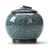 Airtight Lid Tea Canister for Loose Tea Spice Coffee Bean Tea Caddy Storage Ceramic Porcelain Jar for Tea Coffee Herb Spices Sugar and More (Blue)