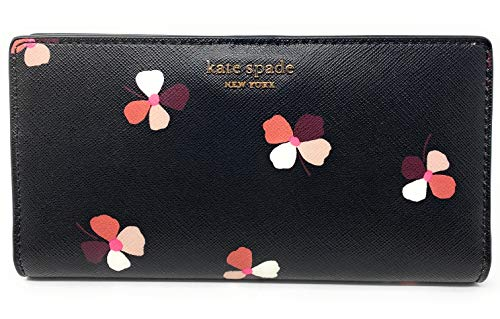 Kate Spade New York Slim Cameron Saffiano Leather Bifold Wallet (Dusk bud ditsy black multi)