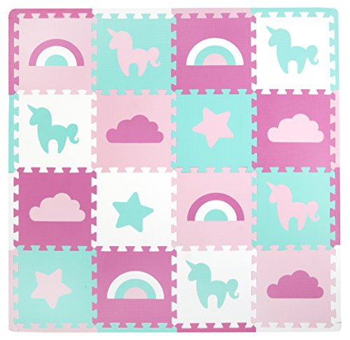 Tadpoles Baby Play Mat, Kid's Puzzle Exercise Play Mat – Soft EVA Foam Interlocking Floor Tiles, Cushioned Children's Play Mat, 16pc, Unicorns and Rainbows, Pink, 50x50