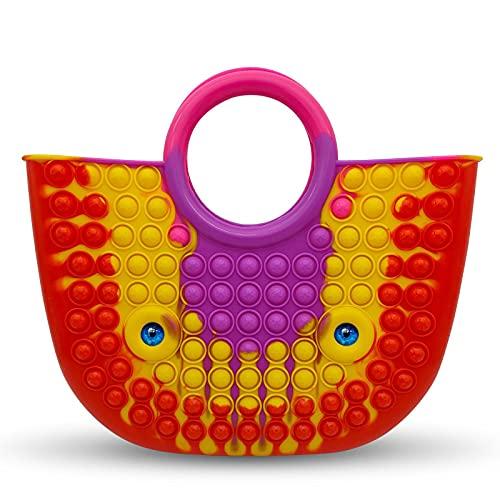 JTKDL Pop Fidget Bolsos y monederos para Mujer Moda para Mujer Bolsos de Hombro con asa Superior de Silicona con asa Superior,D-34.5 * 30.5cm/13.58 * 12inch