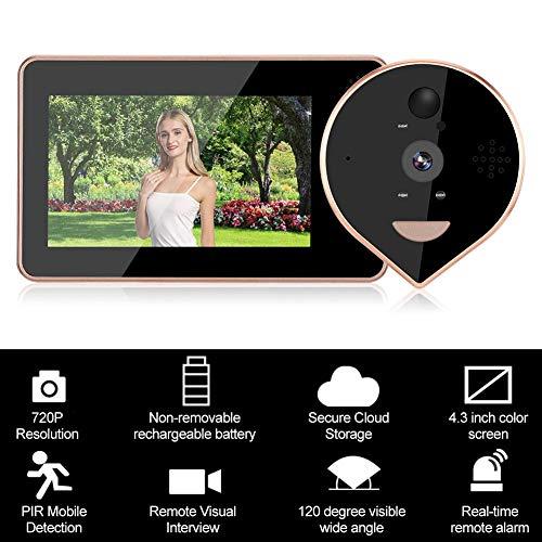 Mirilla digital 4.3inches 720P Pantalla colorida WIFI Visor digital Timbre de puerta 120 ° Ángulo de visión Seguridad en el hogar Video visual Timbre PIR Detección de movimiento, IR Nihgt Vision