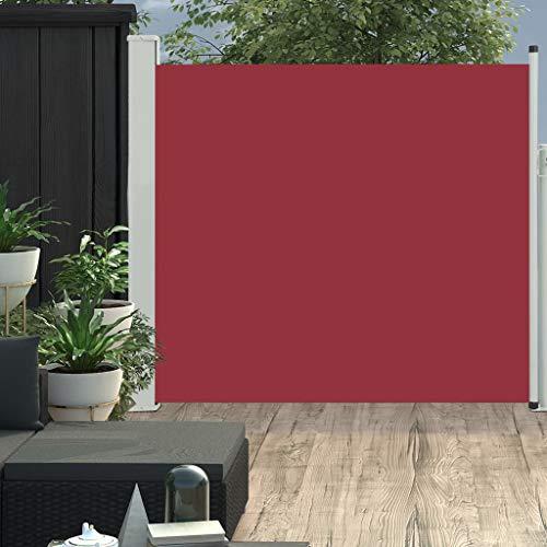 vidaXL Seitenmarkise Ausziehbar Sonnenschutz Sichtschutz Windschutz Seitenrollo Markise Seitenwandmarkise Balkon Garten Terrasse 170x300cm Rot