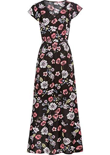 bonprix Tailliertes Kleid mit V-Ausschnitt schwarz geblümt 36 für Damen