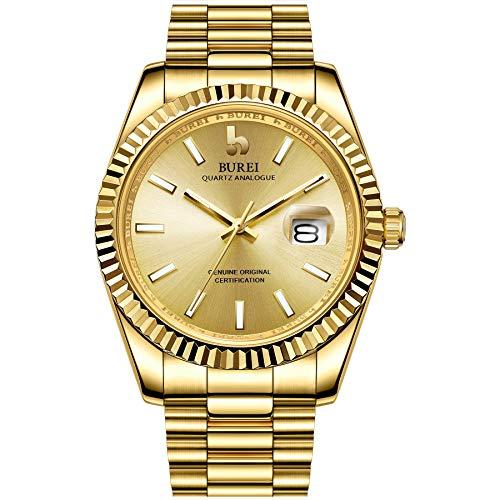 BUREI Herren Uhren Mode Quarzuhr Volles Gold Analoges dial mit Datumsfenster Edelstahlband Uhren für Männer