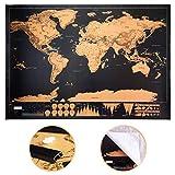 T&W Mappa del Mondo da Grattare - Cartina Premium Deluxe Edition con Astine e Ganci Portap...