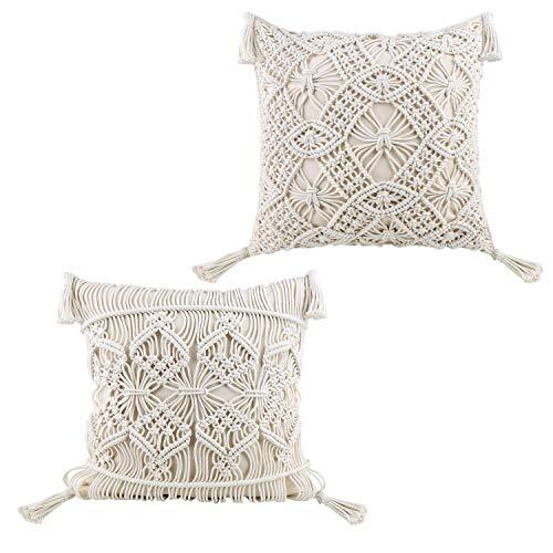 HomeyMosaic Funda de cojín de macramé, funda de cojín bohemia, 100% algodón, cojín decorativo para cama, sofá, banco, coche, beige, 45 x 45 cm (2 unidades)