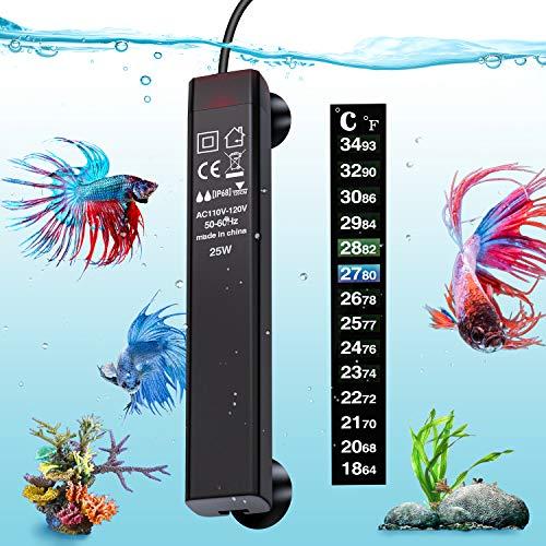 VIBIRIT Aquarium Heater,Betta Fish Tank Heater 25W Smart Small Aquarium Heater,Energy Efficient Submersible Thermostat + Thermometer Sticker
