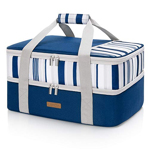 LUNCIA Lunch Bag Double Decker Insulated Casserole Carrier for Hot or Cold Food, Lasagna Holder Tote for Potluck Parties/Picnic/Cookouts, Fits 9'x13' Baking Dish, Blue