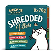 Lily's Kitchen Shredded Fillets Multipack - Grain Free Adult Wet Cat Food (4 Packs x 8 Tins x 70 g)