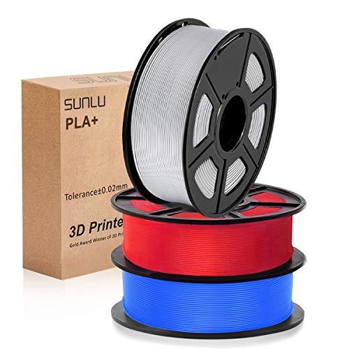 PLA Filament 1.75mm, SUNLU PLA plus Filament for 3D Printer, Dimensional Accuracy +/- 0.02 mm, PLA+ Blue+Silver+Red 1kg