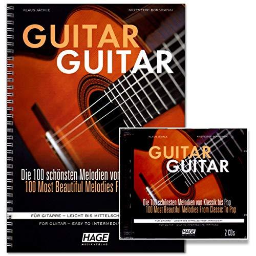 Guitar EH3833-9783866263987 - Colección de 100 melodías clásicas, canciones de todo el mundo, éxitos de música y música de pops y rock (incluye 2 CD)