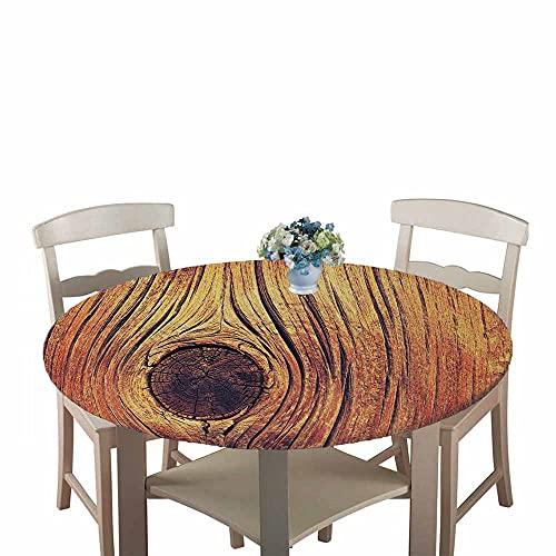Mantel Antimanchas Redondo, Chickwin Patrón de tablón de Madera Mantel de Mesa Impermeable Diseño de Borde Elástico, Mantel Redondo para Comedor, Cocina y Picnic (Grano de Madera,180cm)