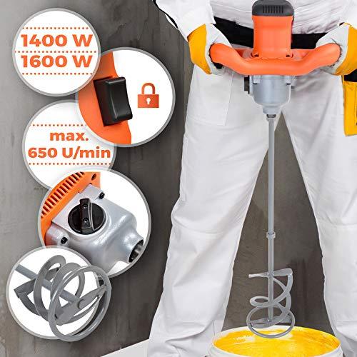 Rührwerk für Beton und Mörtel - 1600 W, Rührpaddel (L/Ø) 60/14 cm, 2 Gänge, max. Drehzahl 650 U/min, M14 Gewinde - Rührgerät, Rührwerkmischer, Mörtelrührer, Betonrührer, Handmischer, Farbrührer