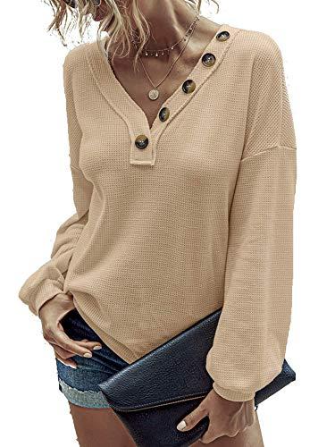 Damen Herbst Und Winter New Button V-Ausschnitt Langarm T-Shirt Damen Top