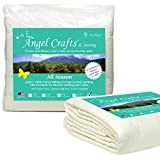 Angel Crafts and Sewing Cotton Batting for Quilts - Purely Natural All Season Quilt Batting by The Roll - Low Loft Fabric for Quilting, Upholstery, Applique, Pillows - 124 by 120 inches, King Size