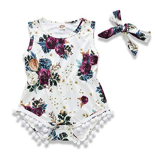 IFFEI Baby Meisjes Bloemen Bedrukte Mouwloze Romper met Hoofdband 2 Stuk Jumpsuit Outfits Set voor Baby Peuter Meisjes