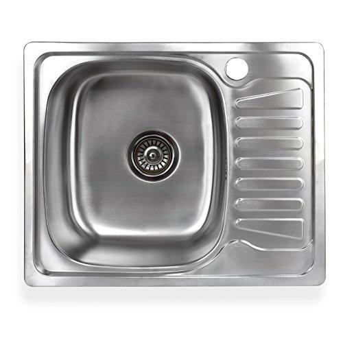 Stabilo-Sanitaer Einbauspüle aus hochwertigem Edelstahl, eckiges Spülbecken mit kleiner Abtropffläche rechts, Küchenspüle Ablaufsieb mit integriertem Ablauf-Stopp