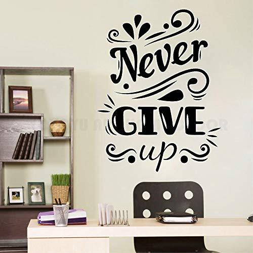 Niemals aufgeben Zitat Wand Aufkleber Aufkleber Schlafzimmer Home Room Art Vinyl Aufkleber inspirierende Dekor Büro Teams Wand Dekor H601 weiß 57 X 75 cm