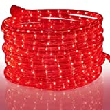 Tupkee LED Rope Light Red - for Indoor and Outdoor use, 24 Feet (7.3 m) - 10MM Diameter - 144 LED Long Life Bulbs Rope Tube Lights