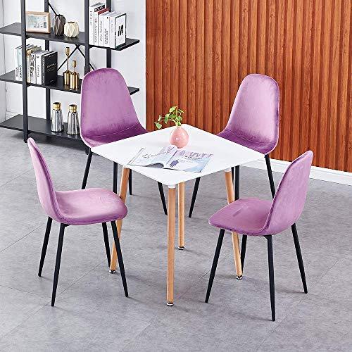 N/Z Tägliches Ausstattungsset mit 4 Esszimmerstühlen aus Samt und quadratischen 60-cm-Esstischsets mit Beinen aus Metall und Holz Retro Lounge-Stuhl für das Wohnzimmer-Küchen-Büro-Restaurant