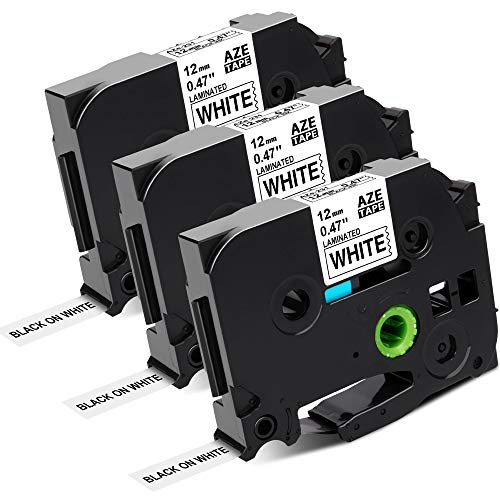 Hanseo Kompatibel TZe Schriftband Weiß 12mm als Ersatz für Brother P-Touch 0,47Zoll TZe-231 tze-231s Schwarz auf Weiß Schriftband für Brother Etikettendrucker PT-H100lb PT-H105 PT-1010 PT-1080 PT-D400