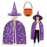 Wishstar Disfraz de Mago de Halloween para Niños, Capa de Brujas, Capa de Estrella con Sombrero, Bolsa de Caramelo de Calabaza, Fiesta de Cosplay de Halloween de Niño Niña(Púrpura