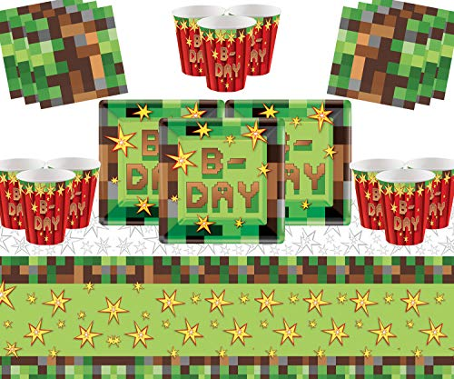 TNT Party Supplies 16 Invitados Pack-TNT Platos Cuadrados Vasos de Papel Servilletas...