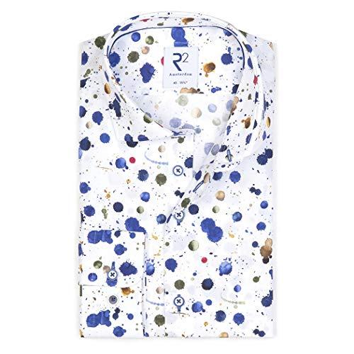 R2 Amsterdam Herren Business Hemd mit Alloverprint, Größe:46, Farbe:Multicolour