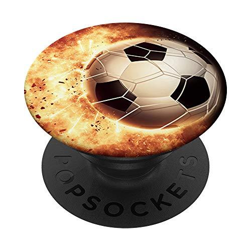 Fußball-Design für Jungen, Mädchen, Männer PopSockets PopGrip: Ausziehbarer Sockel und Griff für Handys/Tablets mit Tauschbarem Top