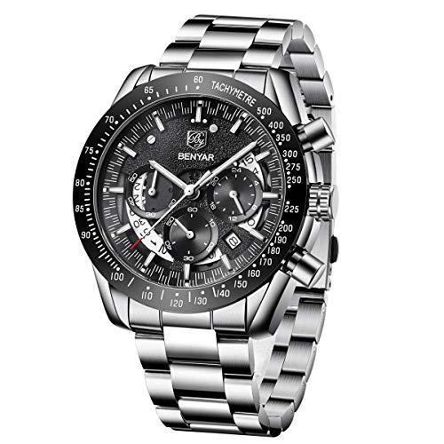 BENYAR Reloj Cronógrafo para Hombre Movimiento de Cuarzo Correa de Acero Inoxidable Moda Negocios Deportes Watch 30M Impermeable Elegante Regalo de los Hombres