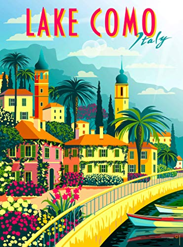 A SLICE IN TIME Lake Como Italy Lombardy Retro Travel Home Collectible Wall Decor Advertisement Art Poster Print. 10 x 13.5 inches