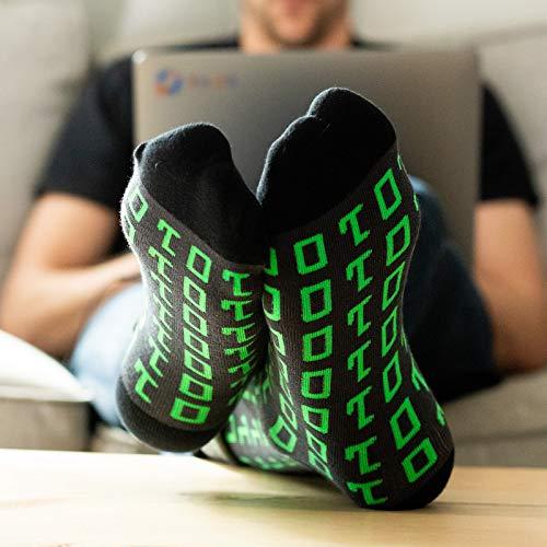 Lavley Nerd Socks - Cool Socks for Men and Women - Funny Gift for Geeks (Books, Math, Science) (Binary Code)