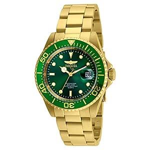 Invicta 24948 Men's Pro Diver Green Dial Yellow Gold Steel Bracelet Quartz Dive Watch