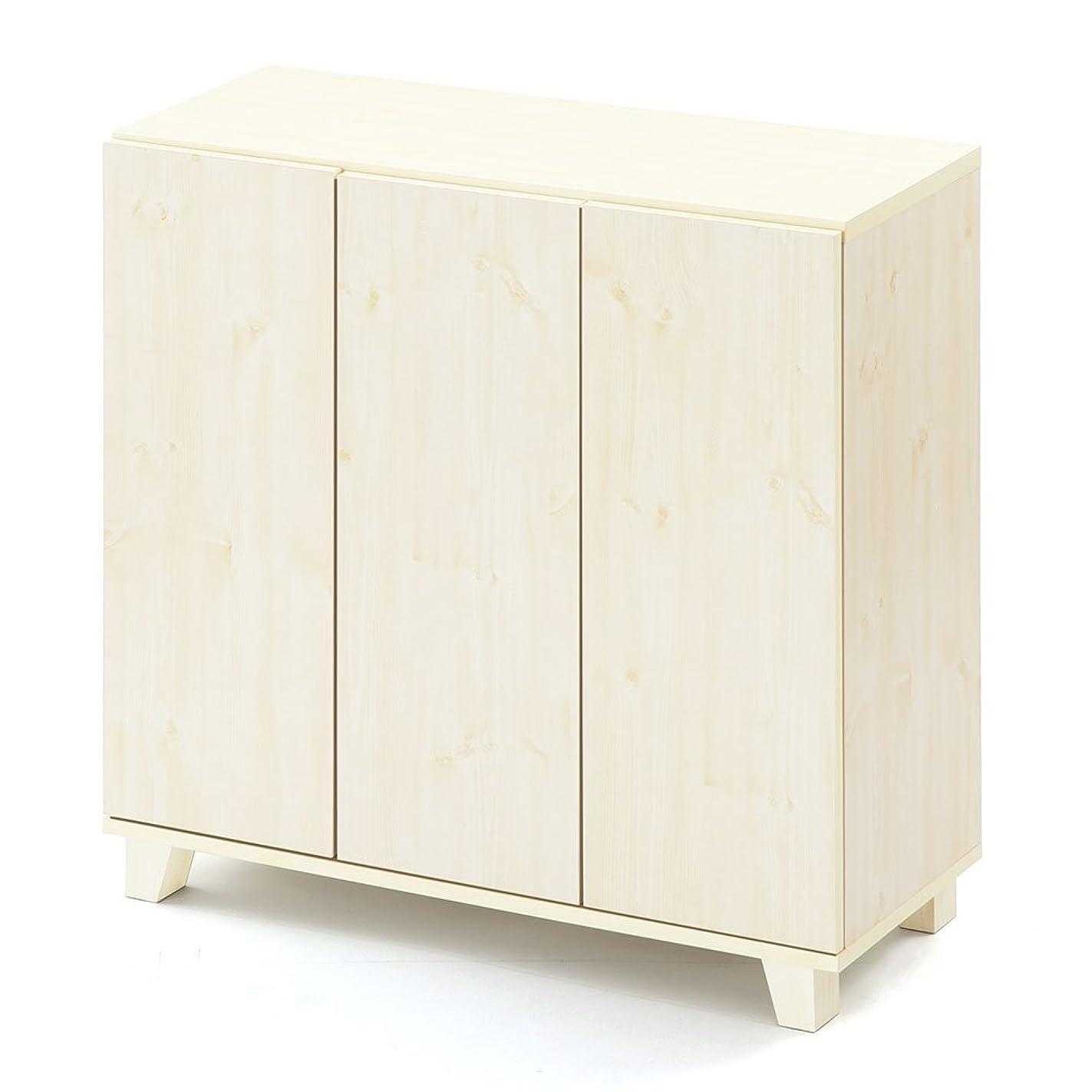 本失望ブルぼん家具 【完成品】 シューズボックス 幅90×高さ89.4×奥行37cm 靴箱 ホワイト