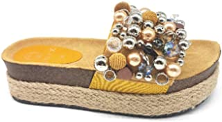 ONIX Sandali Zeppa Donna con Applicazioni S1936-OX/Yellow 360